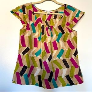 Kenneth Cole 100% Silk Patterned Top